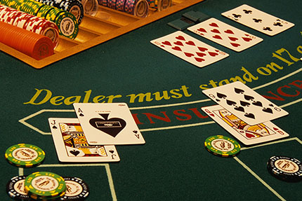 Blackjack table at the casino