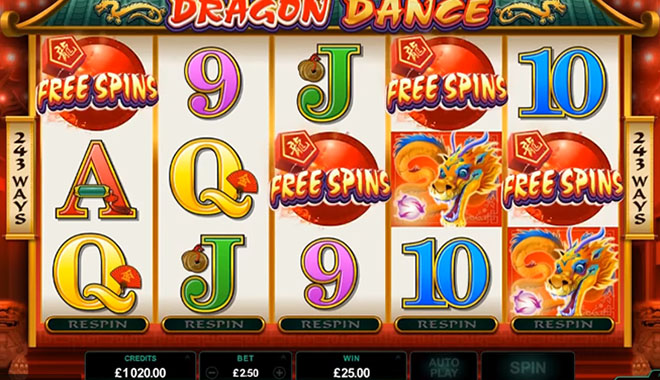 Dragon Dance is the highest paying online slot machine
