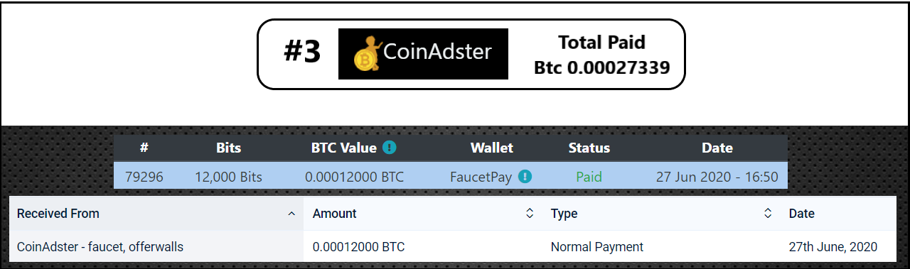 payment coinadster