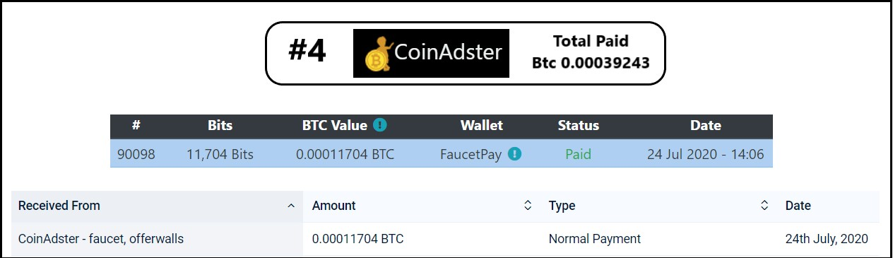 coinadster payment