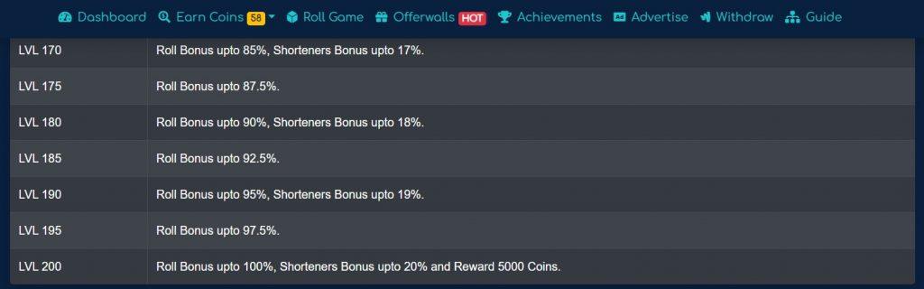 DogeMate levels and bonus