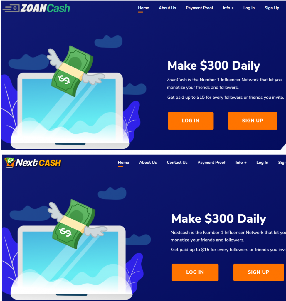zoancash and nextcash home page