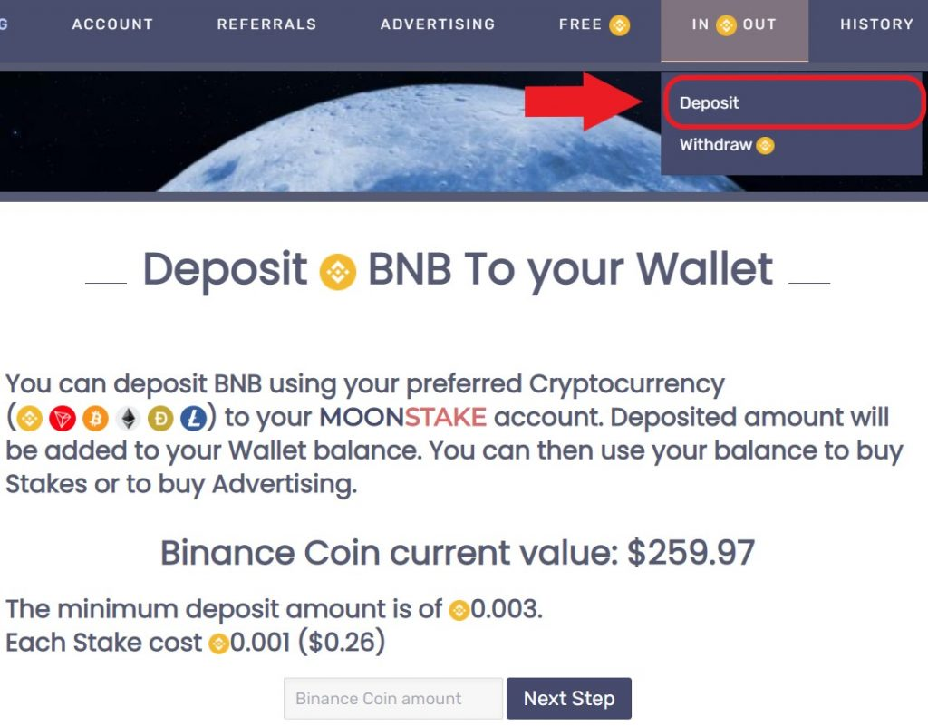 moonstake how to deposit