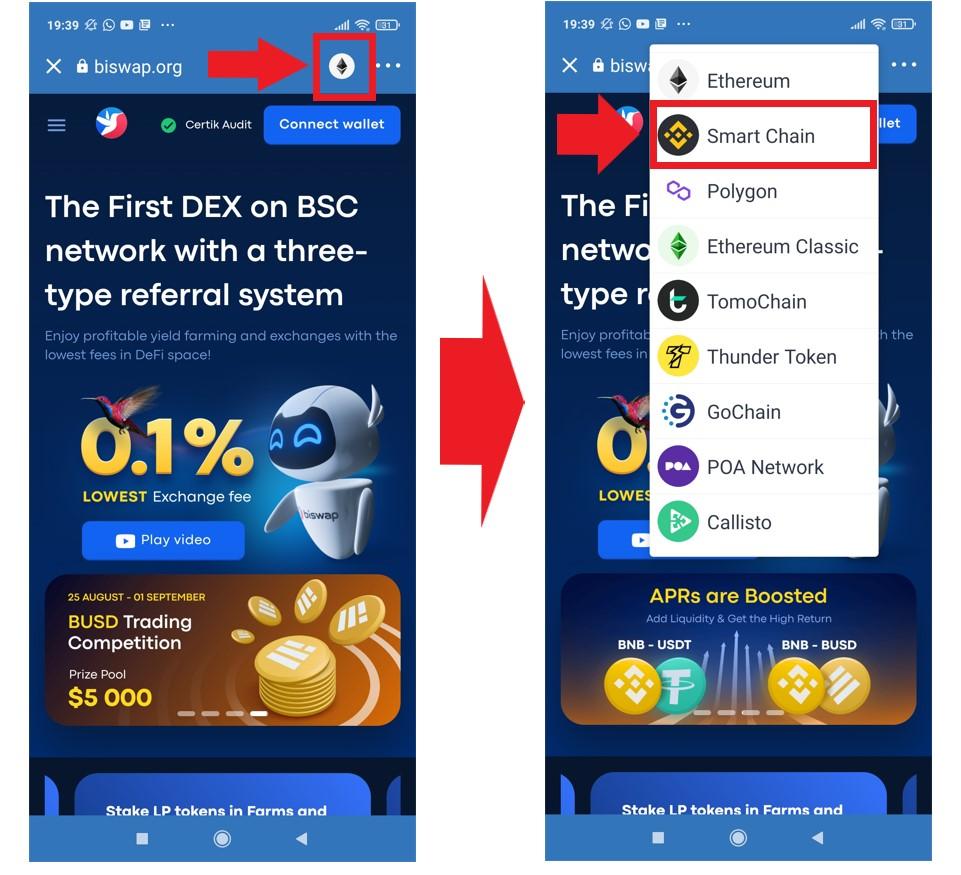 Biswap select blockchain