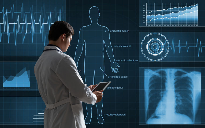 The doctor works with a virtual interface. The use of digital technology in medicine