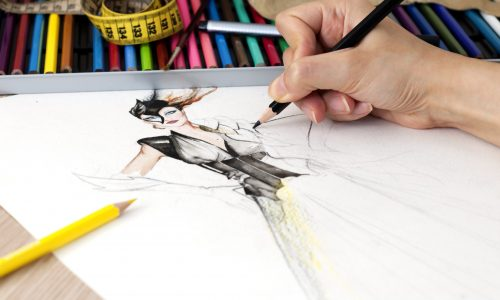 Fashion design,close up photo,female close up hand drawing fashion