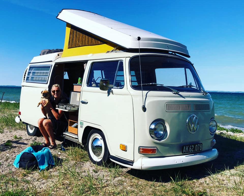 VW-bus 4: Signe og Mike er på tur med deres hund, Berta. Siden er hvalpen Frede kommet til. Begge hunde er en blanding af en mops og en pekingeser. Privatfoto