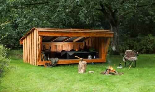 shelter byg selv shelter til haven byg selv shelter byggesæt i lærketræ m-lukkefront og låge 8 personer forside