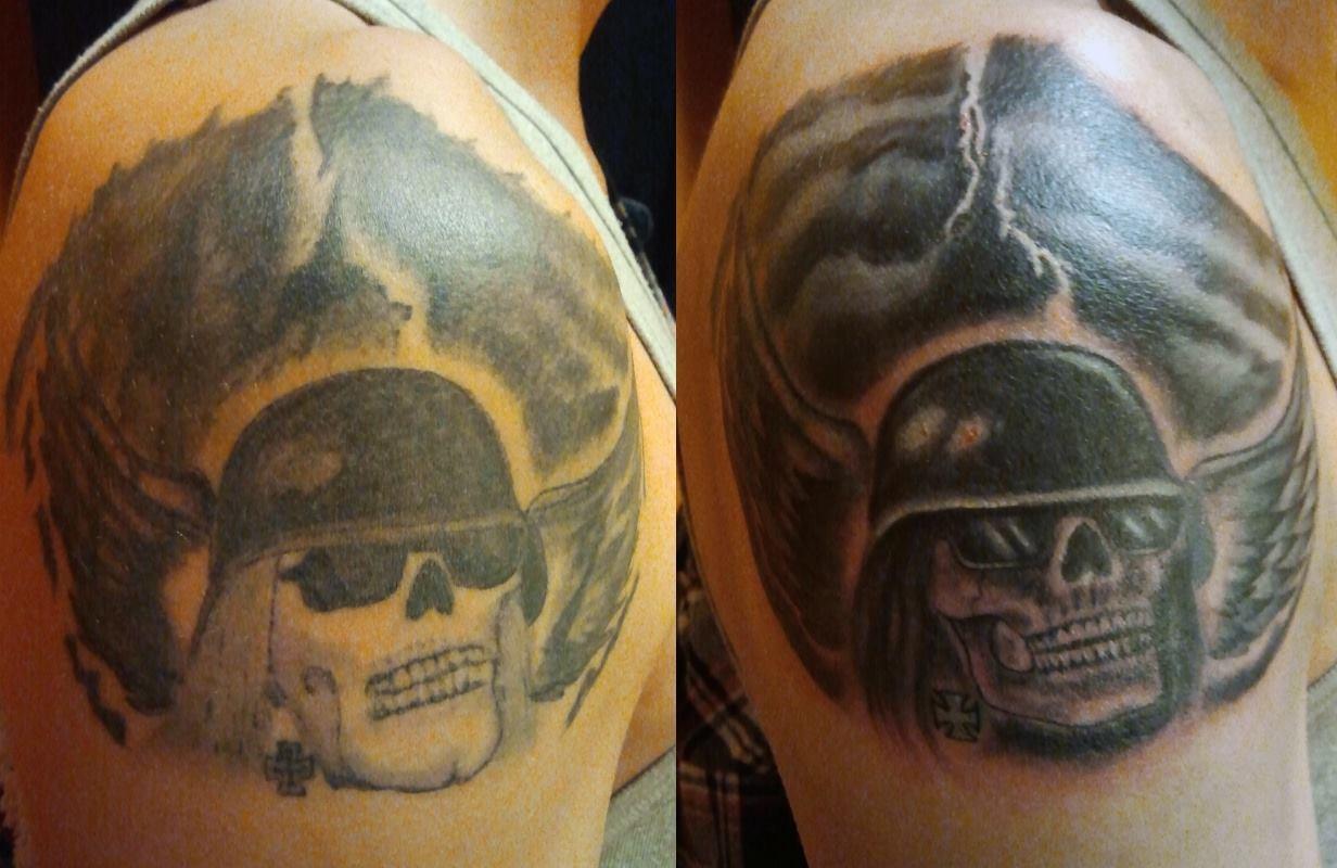 Cover-up bzw. Touch-up eines Schädel-Tattoos mit Helm