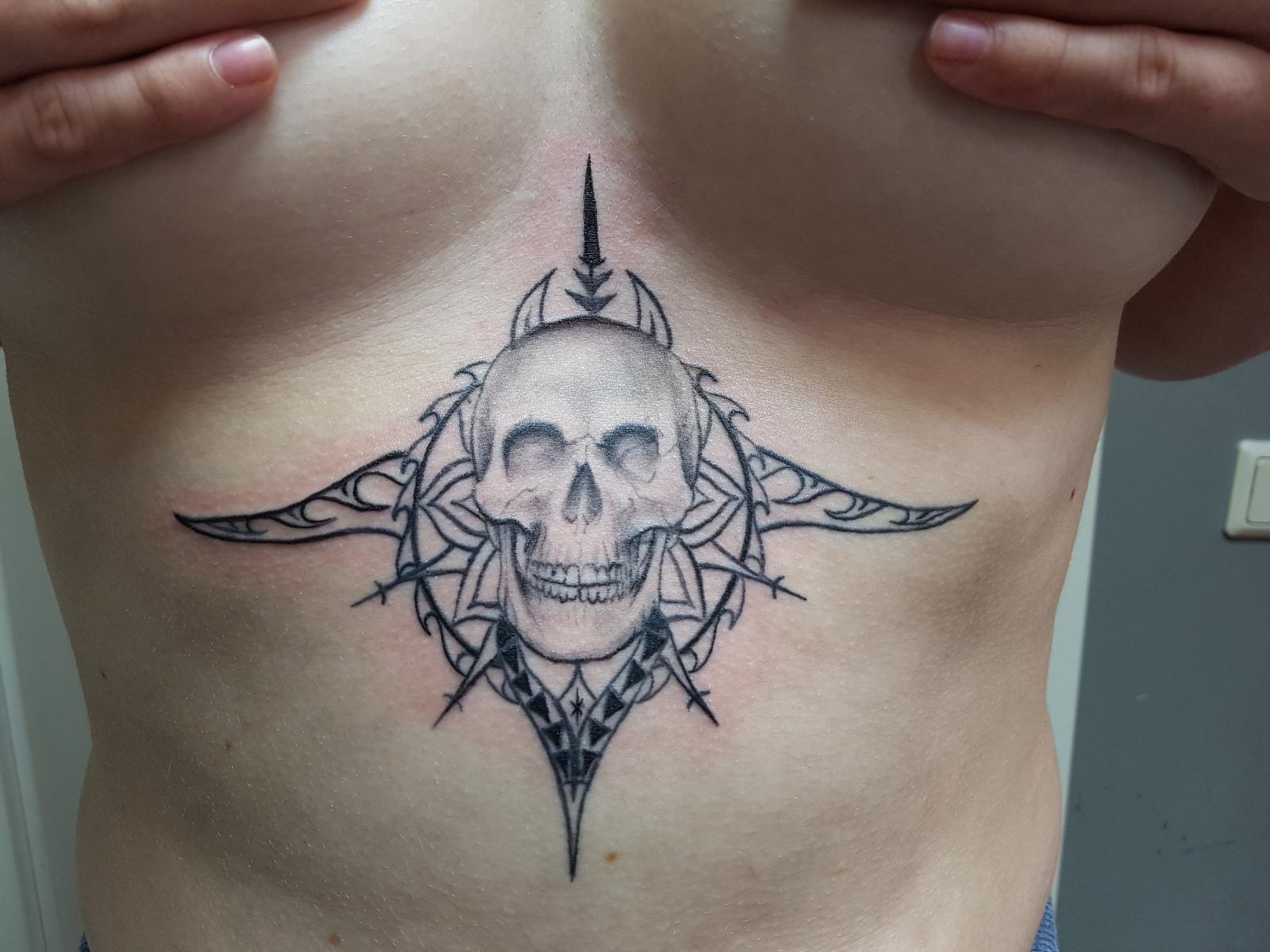 Underboob Skull Healed