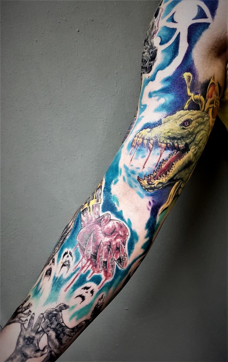 Ancient Egypt  Sleeve - Sobek Tattoo