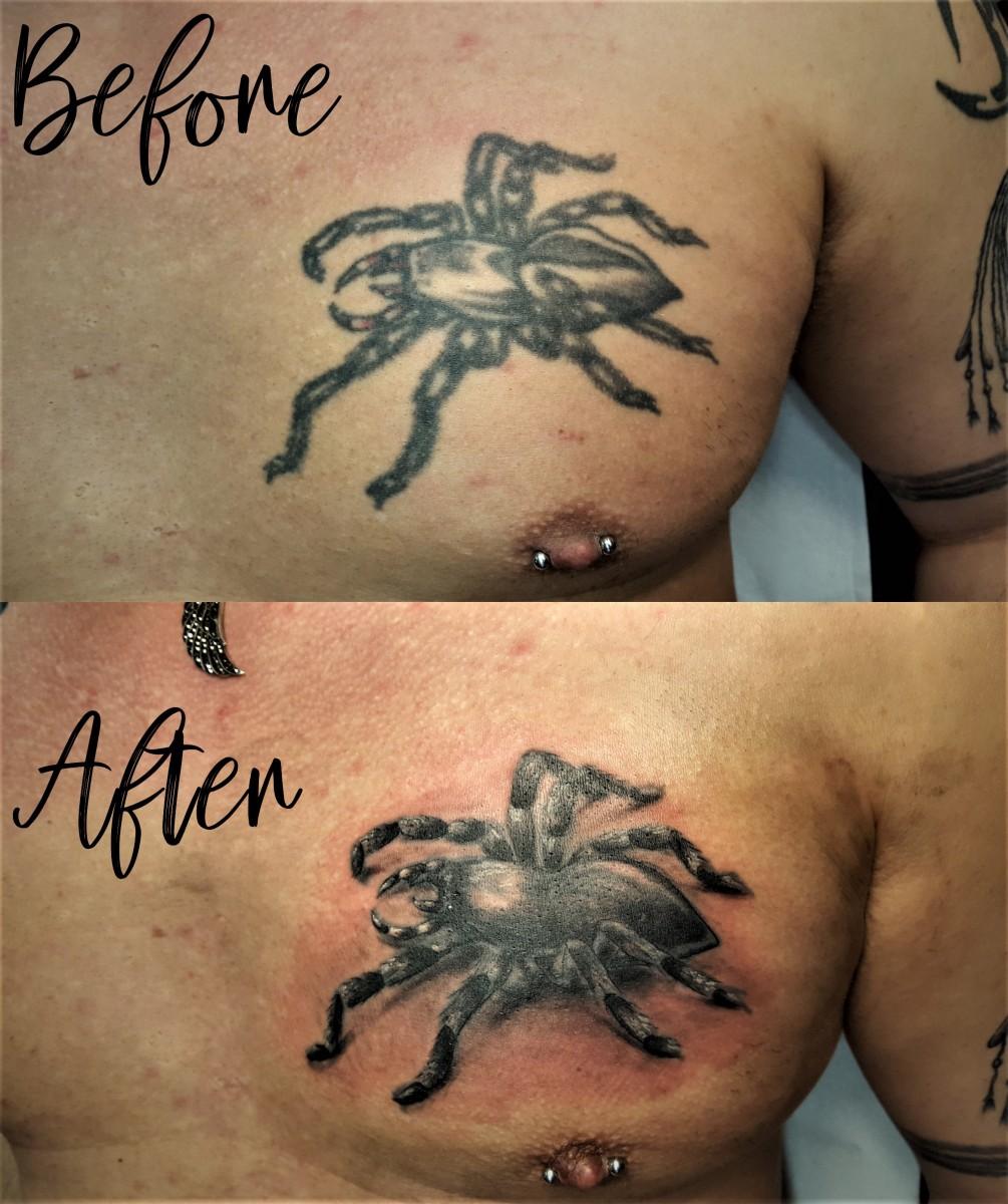 Pimp mein Tattoo - Spinne vorher (nicht von mir) und nachher