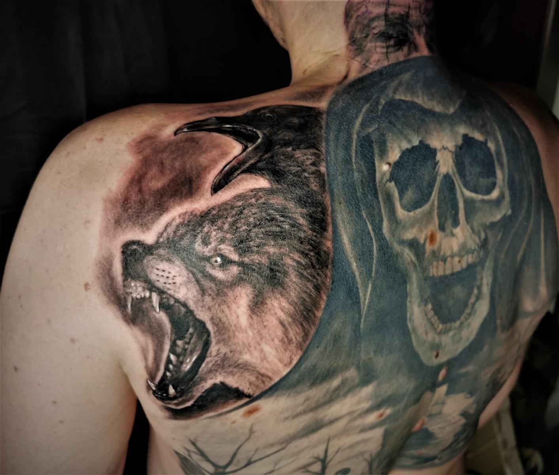 Wolf und Rabe Tattoo 2