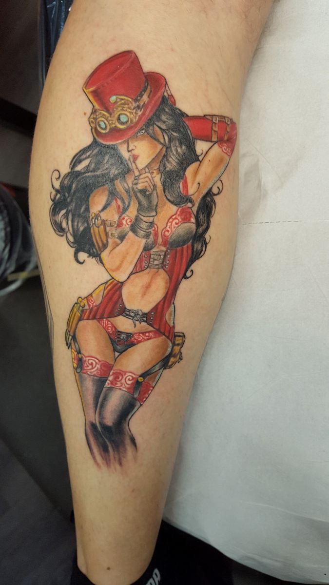 Steampunk Pin-up Girl Tattoo