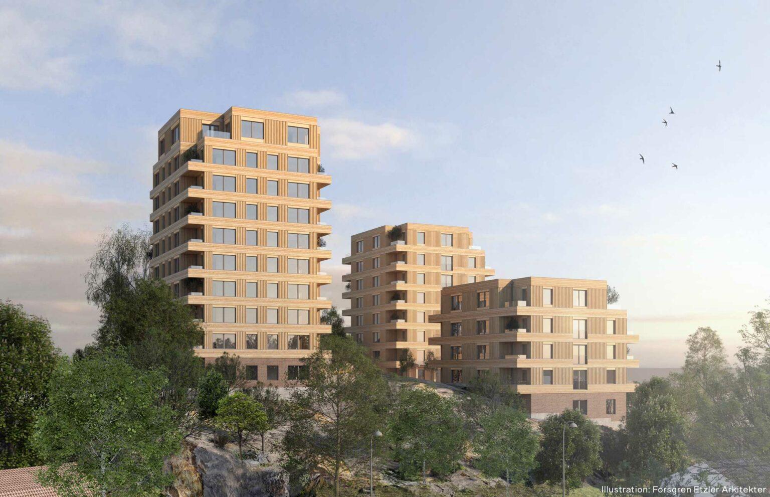 Det högre huset med bostadsrätter io förgrunden. Illustration: Forsgren Etzler arkitekter