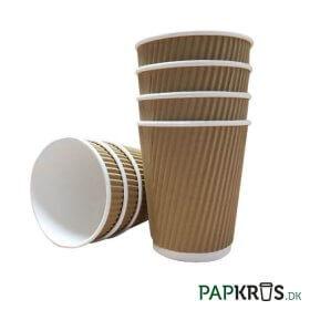Ripple Wrap papkrus 24 cl brun - stabel af kaffebægre