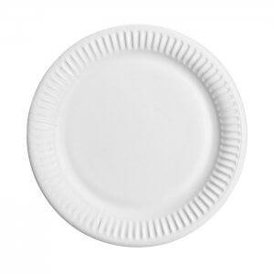 Paptallerken - rund Ø 23 cm - bionedbrydelig - kraft - hvid