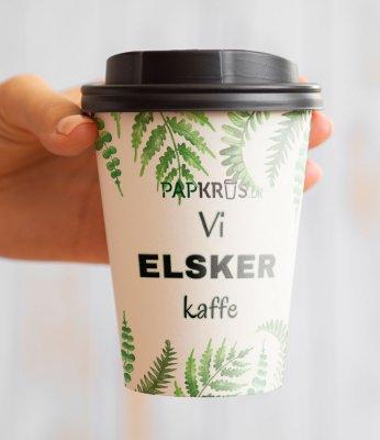 Single Wall papkrus med tryk - Vi elsker kaffe