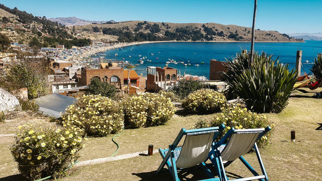 utzicht vanaf hotels la cupula op Lake Titicaca in Copacabana bolivia