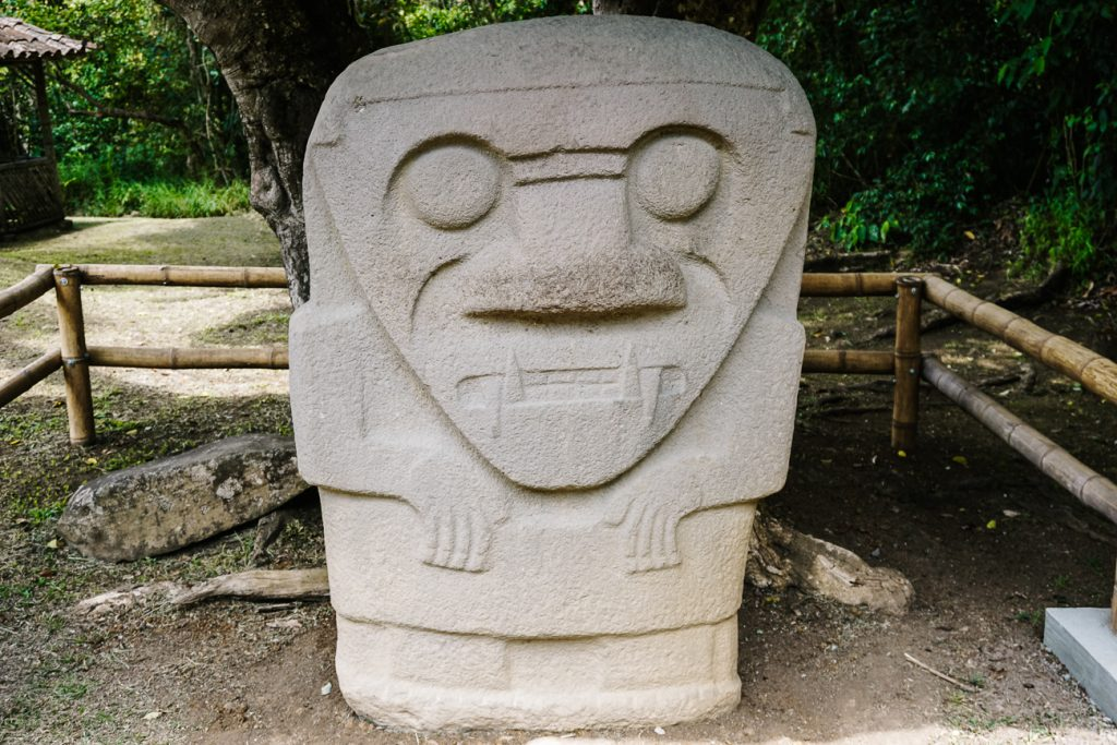 statue of San Agustin archaeological park in Colombia