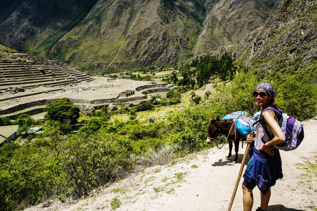 Deborah hiking the Inca trail in Peru