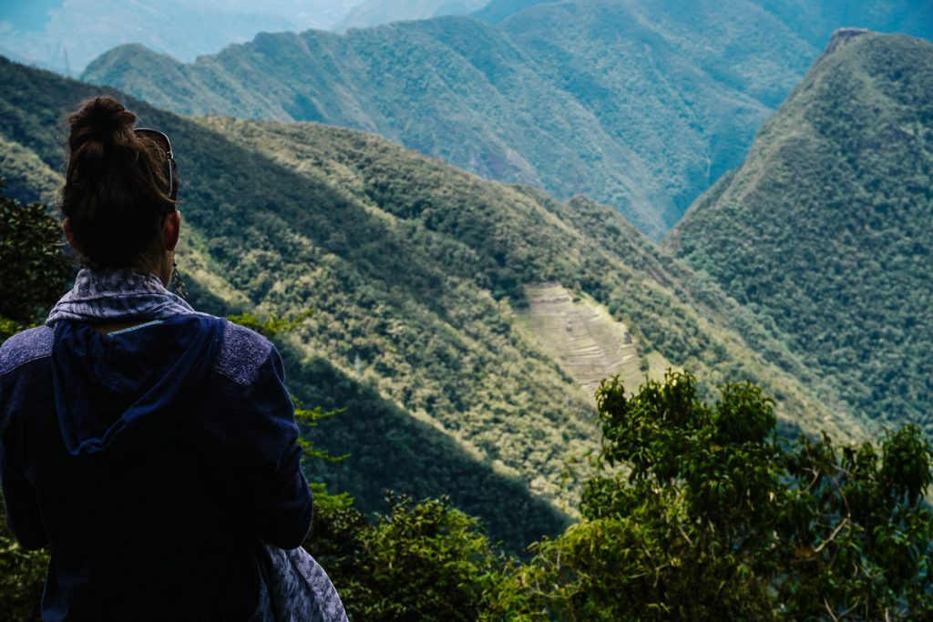 Deborah enjoying view of Machu Picchu