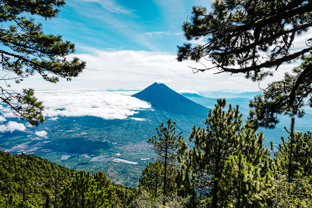 view of the Agua volcano, when you go on the Acatenango volcano hike