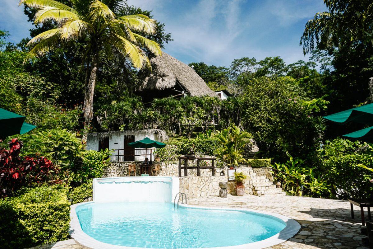 pool of La Lancha lodge by Francis ford Coppola in Guatemala