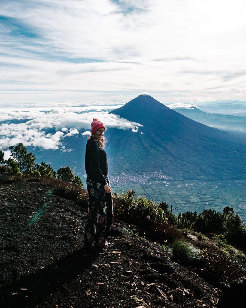 Deborah in front of Agua volcano, the view when hiking the Acatenango volcano