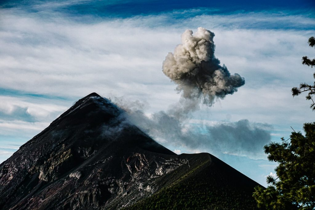 view of the erupting Fuego volcano