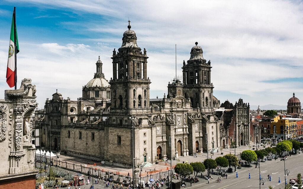 uitzicht op de kathedraal in Mexico city