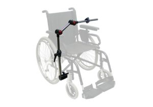 A photo of a standard manual wheelchair with a Daessy Mount attached