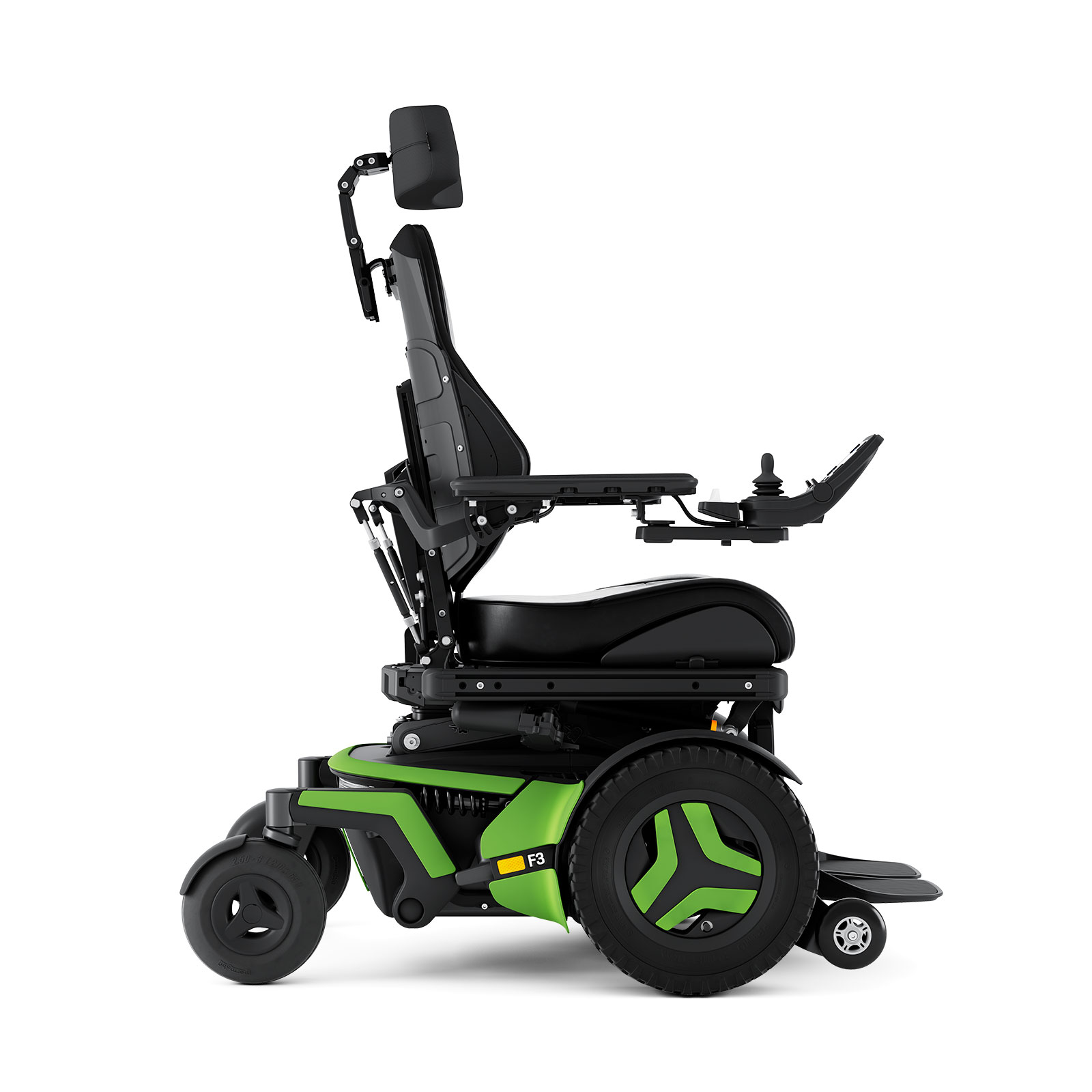photo of a green and black F3-Corpus power chair