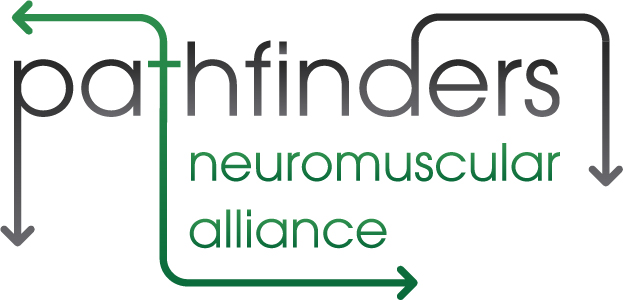 "Pathfinders neuromuscular alliance logo, black and green text saying ""pathfinders neuromuscular alliance"""