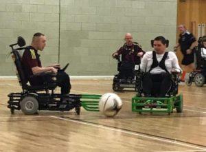 Connor Colhoun playing wheelchair football