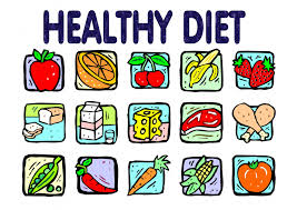 text saying Healthy diet over a grid showing various cartoon styled foods