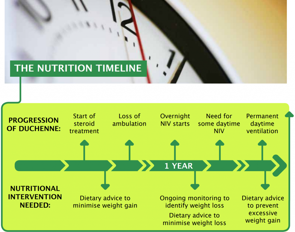 Nutrition timeline image of scales with text beneath
