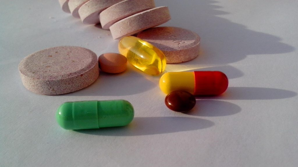 A photo of various Probiotics, pills, and dietary supplements