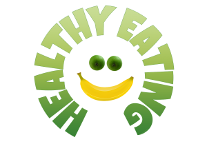 circular green text saying Healthy Eating surrounding two apples and a banana in the shape of a smiley face