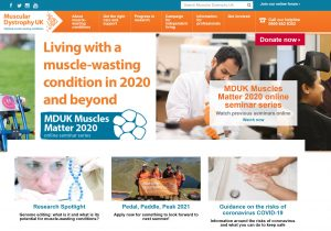screenshot of the Muscular Dystrophy UK website