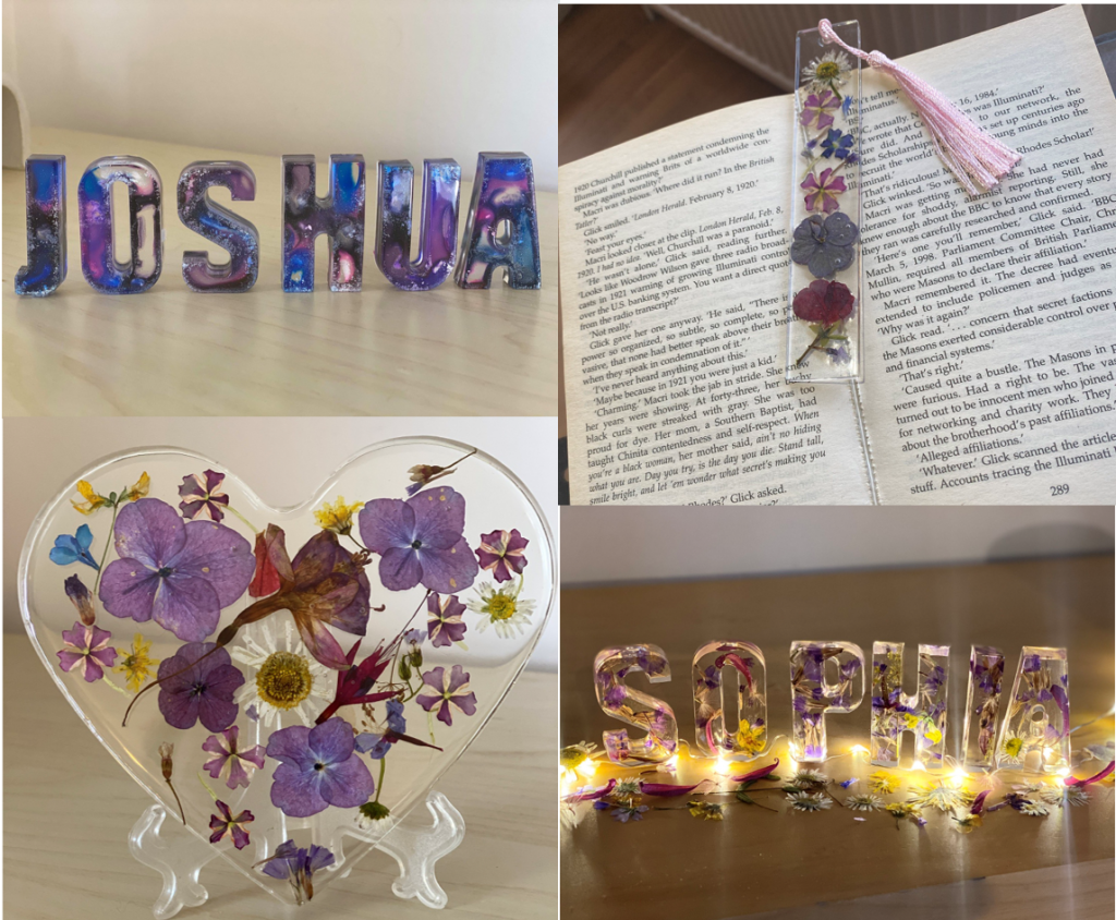 a square of four photos showing resin products. top left are 6 individual purple and blue coloured capital letters spelling Joshua. Top right is an open book with a bookmark made with pressed flowers and a pale pink tassel at the top. Bottom left is a clear heart filled with pressed flowers mostly purple. Bottom left is Individual capital letters spelling Sophia with pressed flowers, laid below the letters are yellow fairy lights and pressed flowers scattered.