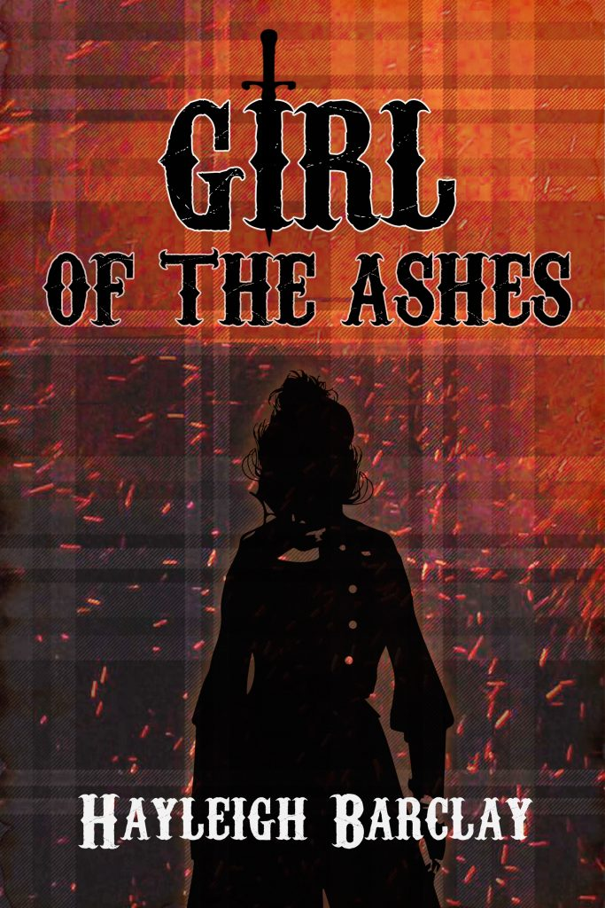 Illustration - Black text with white outline 'GIRL OF THE ASHES' at the top on a background of orange at the top fading to purple at the bottom with a black filled shape of a woman. The bottom in white is Hayley Barclay