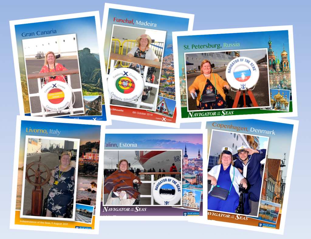 An image of 6 cruise photos of a woman in a powerchair at 6 different ports; Gran Canaria, Funchal, Italy, St. Petersburg, Russia, Livorno, Italy, Talinn, Estonia, Copenhagen, Denmark