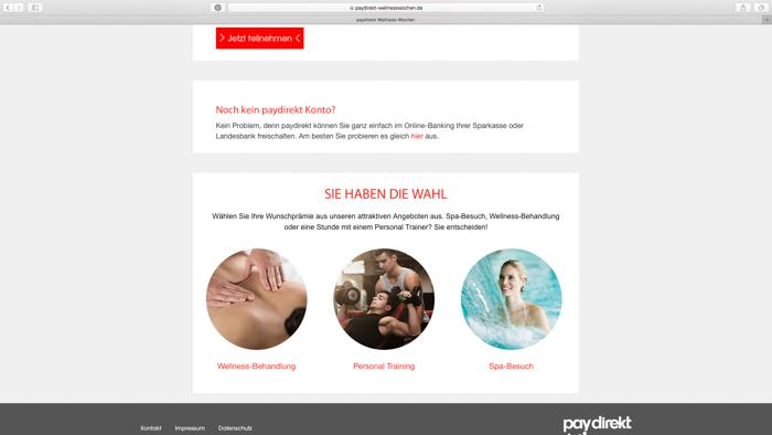 Screenshot der Kampagnenseite der paydirekt-Wellnesswochen mit der Auswahl der zur Verfügung stehenden Wellness-Anwendungen