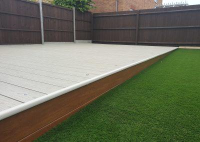 artificial grass and decking