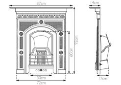RX139 Hawthorne Georgian cast iron fireplace sizes in black finish by Carron