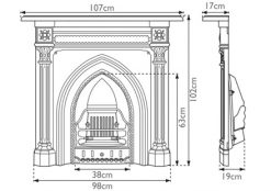 HEF055 Gothic cast iron combination fireplace sizes