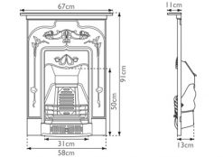jasmine cast iron combination fireplace sizes