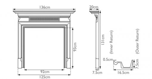Belgrave cast iron fire surround mantelpiece sizes
