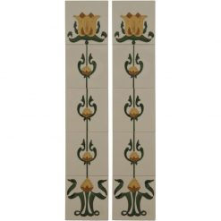 Tubelined Victorian fireplace tiles LGC083